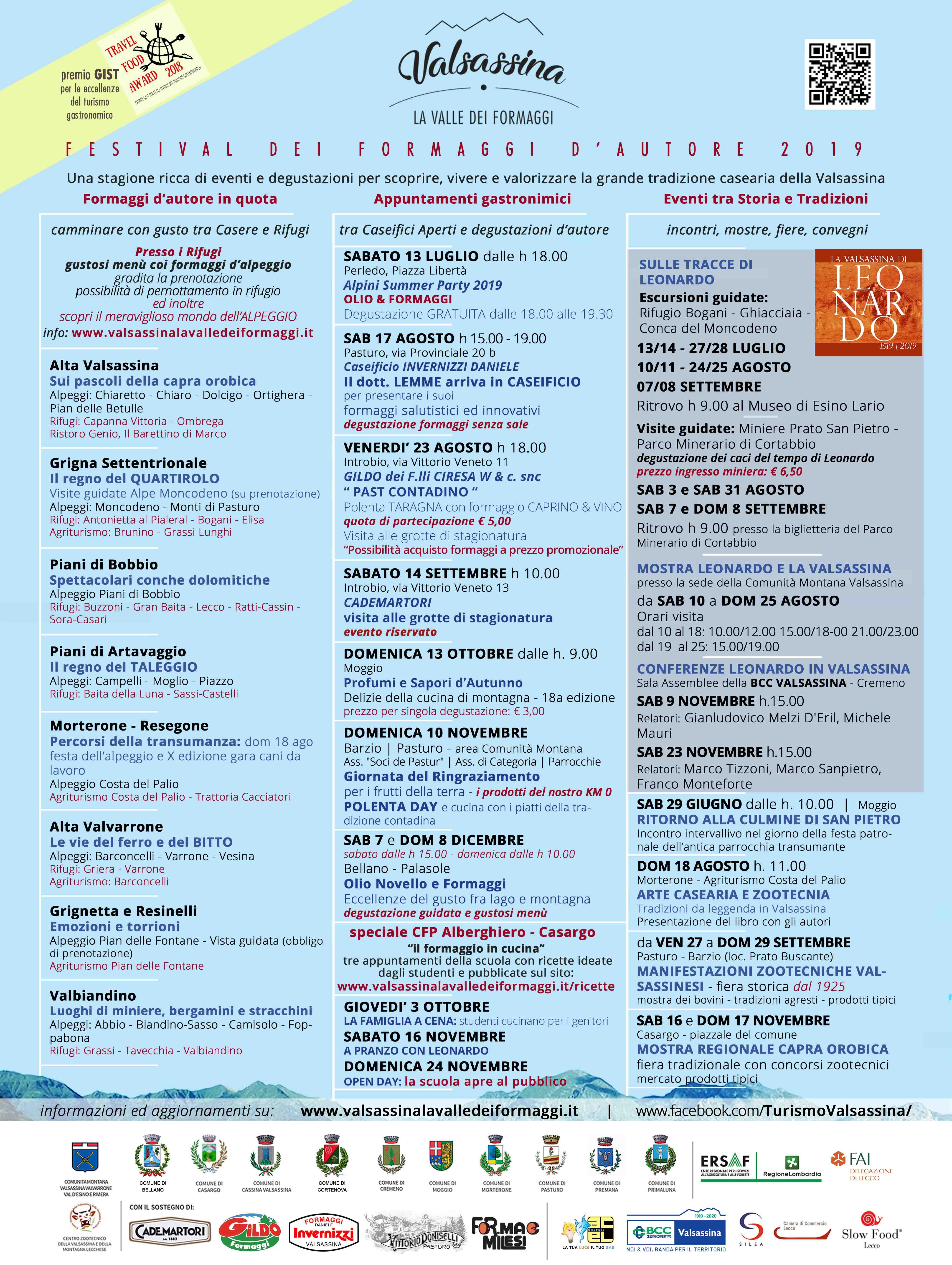 Calendario Fiere Alimentari 2020.Festival Dei Formaggi D Autore 2019 Valsassina La Valle